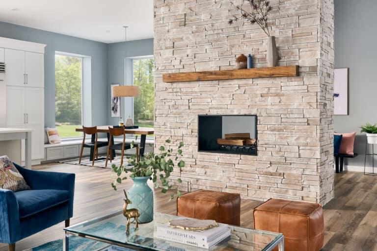 Boral Versetta Stone Siding - Sand Interior Fireplace